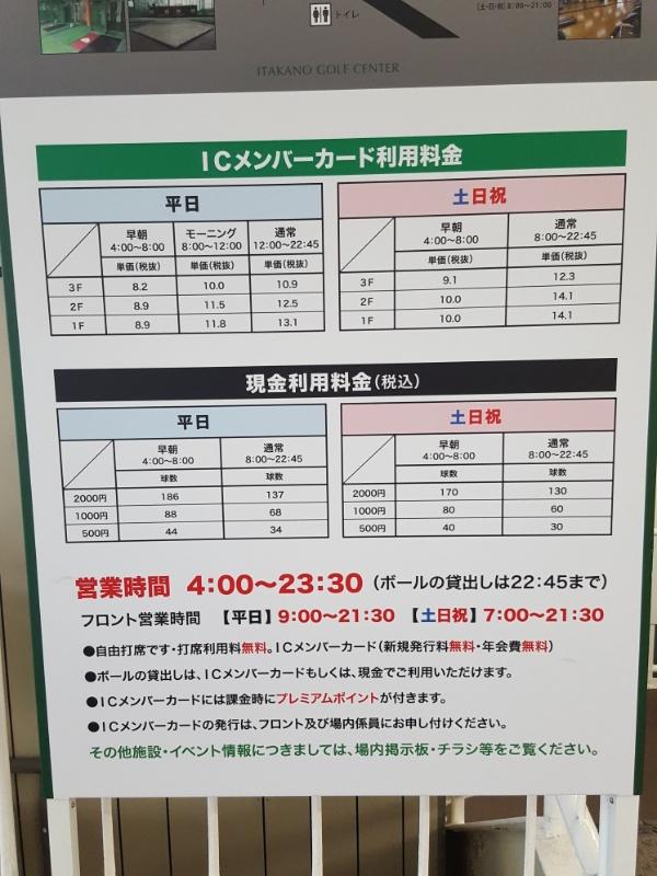 井高野ゴルフセンター料金